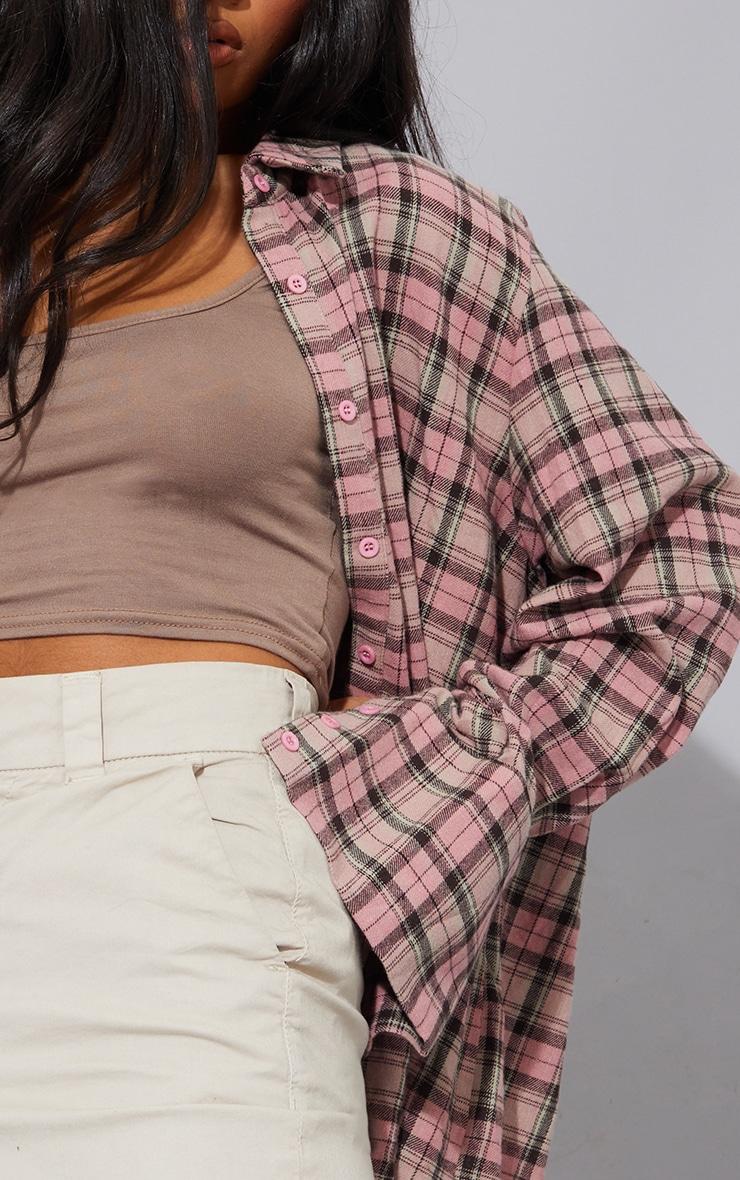Pink Tartan Checked Flannel Detail Oversized Shirt 4