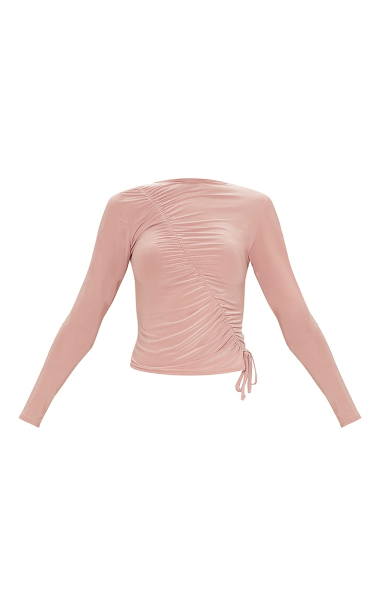 Nude Slinky Ruched Front Long Top 5