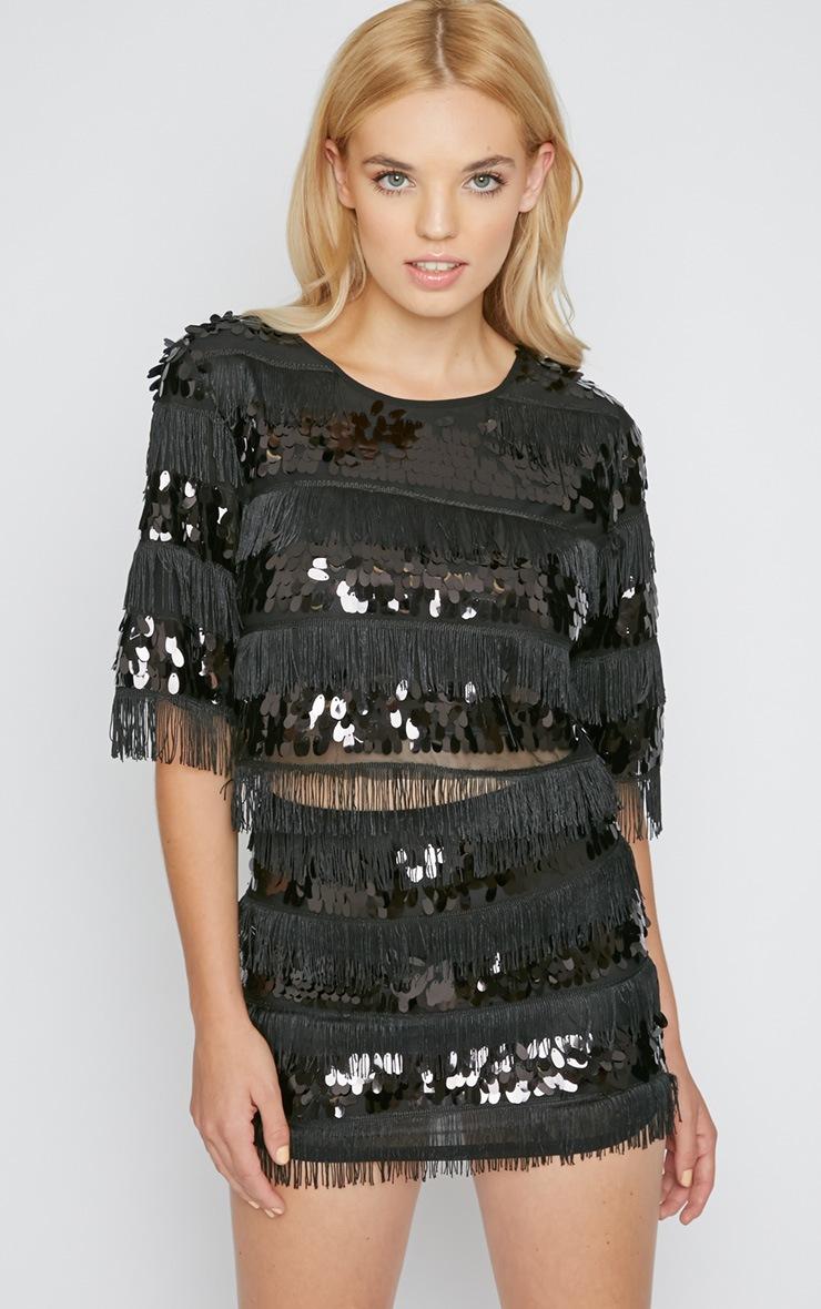 Rosanna Black Sequin Tassel Crop Top   3
