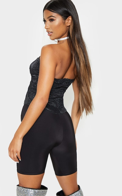 Black Textured Glitter Twist Front Bandeau Long Top