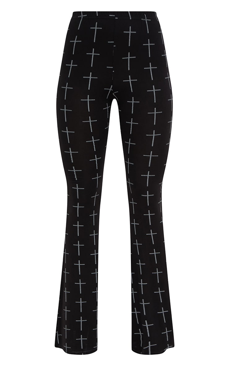 Black Jersey Graveyard Cross Print Flared Trousers 3