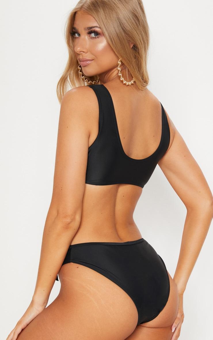 Black  Lace Up Under Bust Cut Out Swimsuit 2