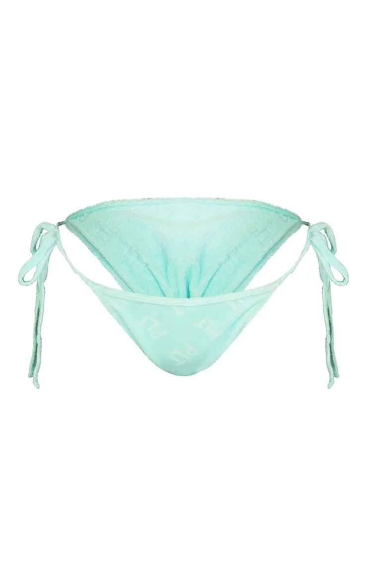 PRETTYLITTLETHING Turquoise Embossed Towel Bikini Bottoms 5