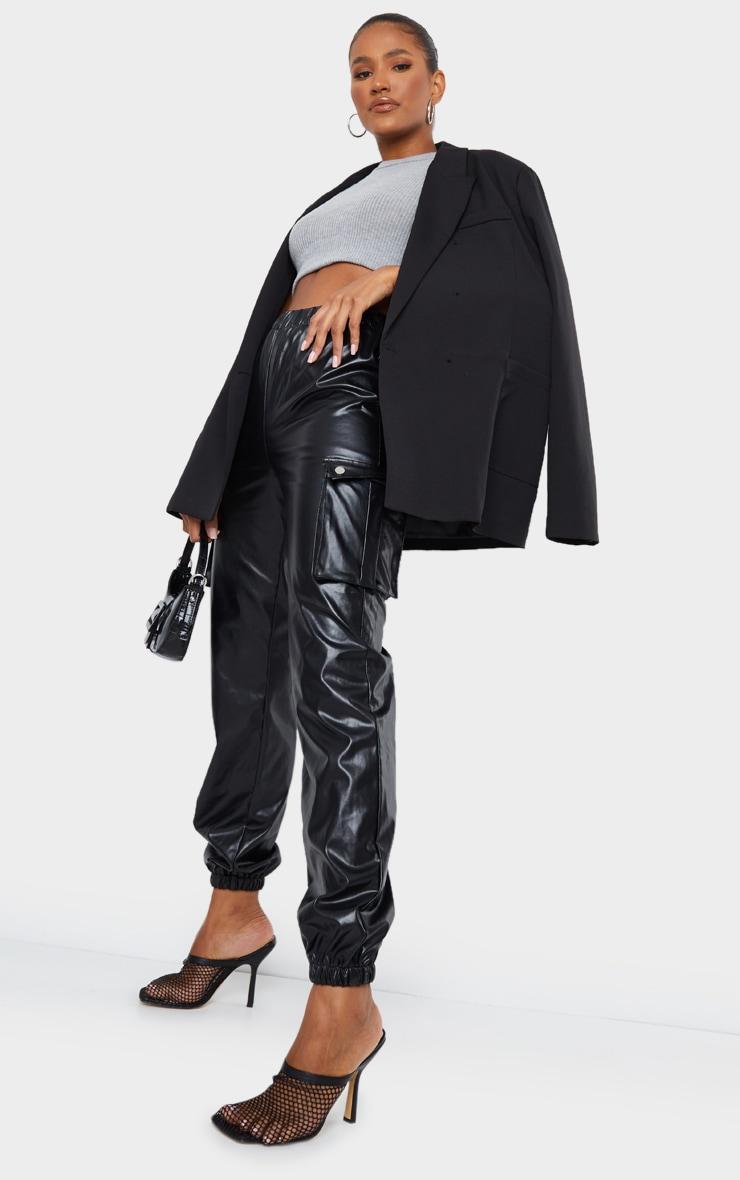 Black Faux Leather Cargo Pants 1