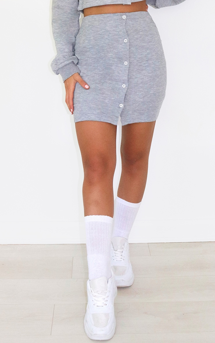 Grey Button Front Sweat Mini Skirt 2