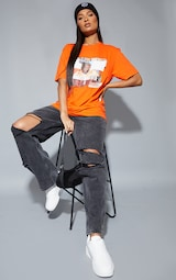 Orange Biggie Print Oversized T Shirt 3