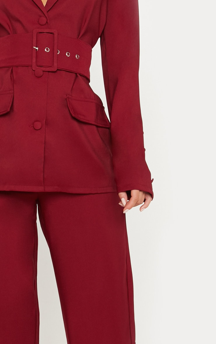 Burgundy Wide Leg Suit Trouser 5