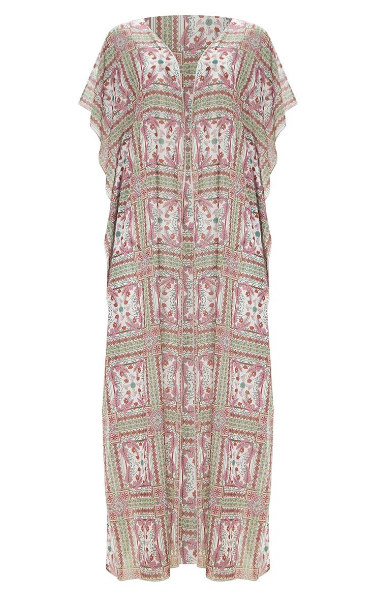 Plus Multi Mosaic Sleeveless Maxi Beach Kimono 3