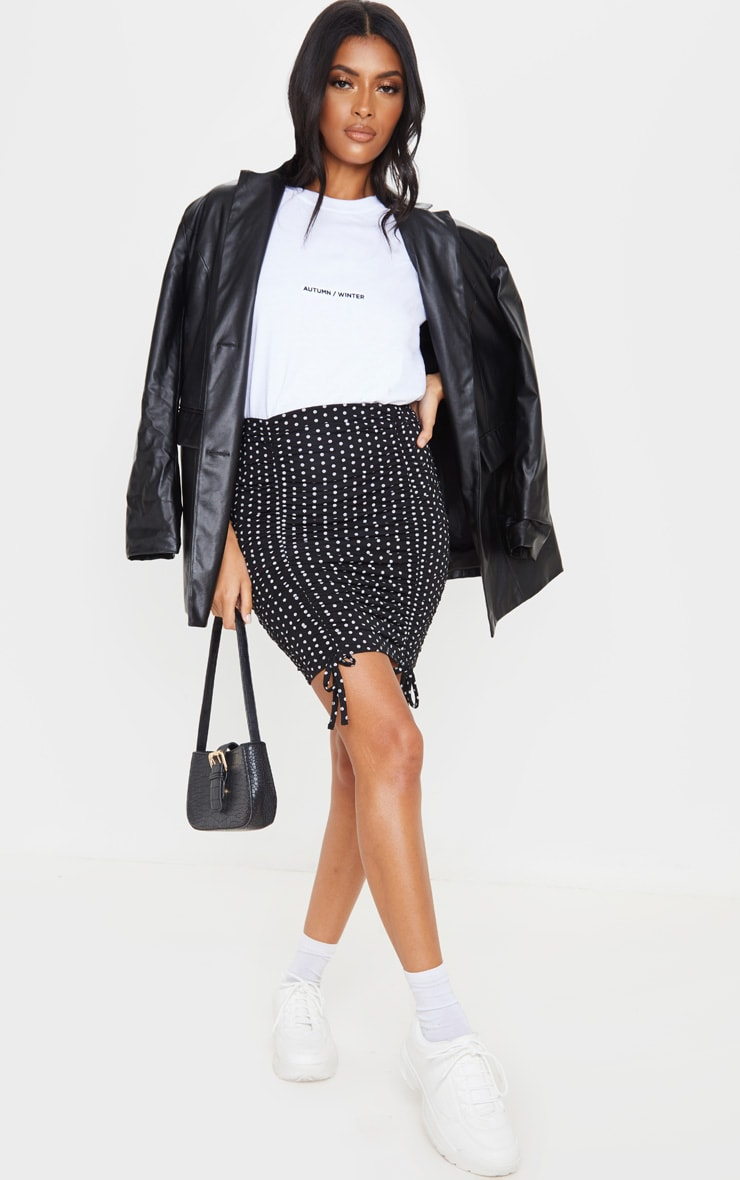 Black Polka Dot Ruched Tie Detail Mini Skirt 5
