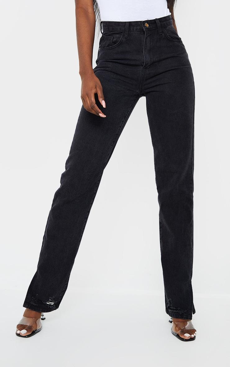 Tall Black Wash Distressed Split Hem Straight Leg Jeans 2