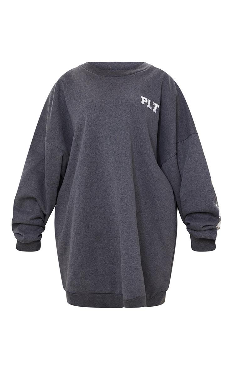 PRETTYLITTLETHING Plus Charcoal Graphic Oversized Sweatshirt Dress 5