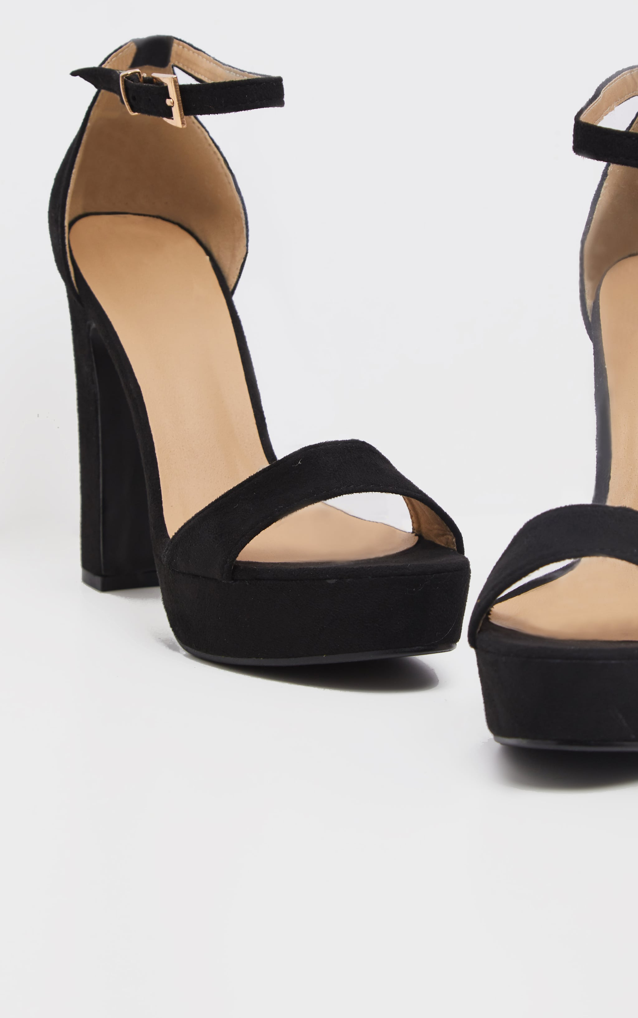 Taya Black Faux Suede Platform Sandals 3