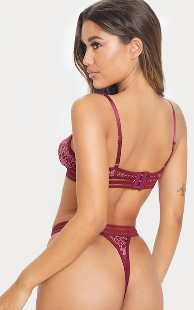 Plum All Over Lace Triangle Lingerie Set