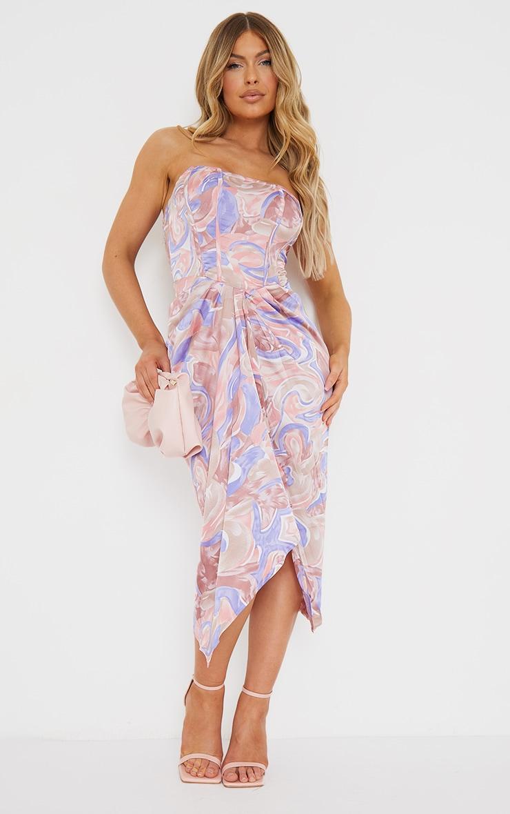 Multi Swirl Print Corset Draped Bandeau Midi Dress 1