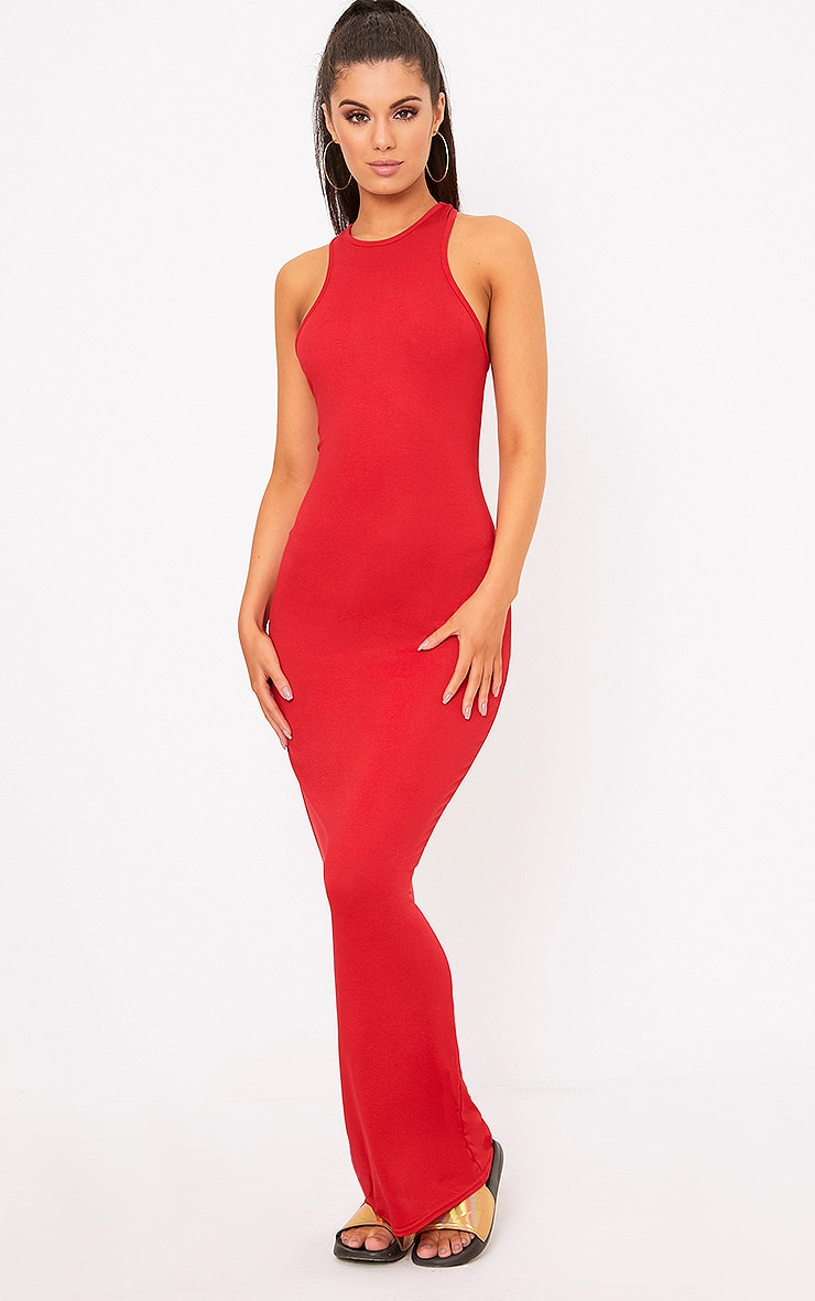 Red Jersey High Neck Maxi Dress