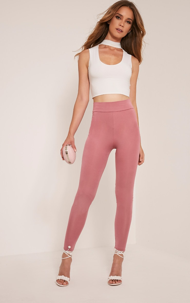 Basic Rose High Waisted Jersey Leggings 1