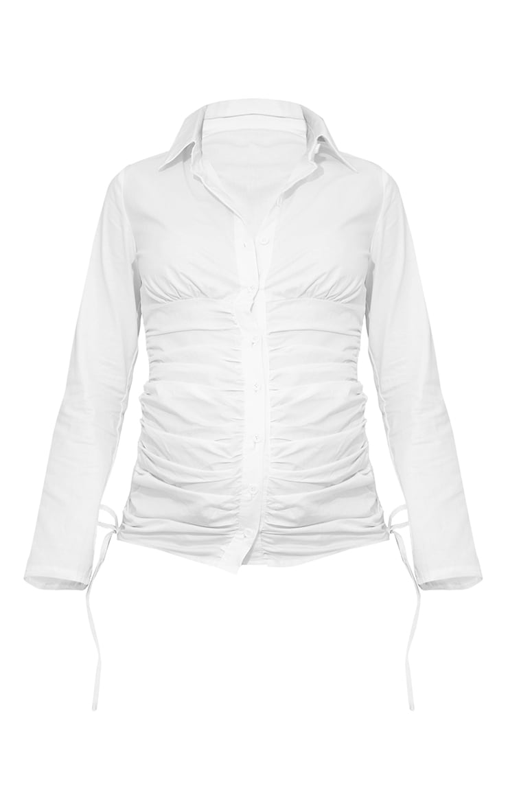 Maternity White Ruched Side Detail Shirt 5