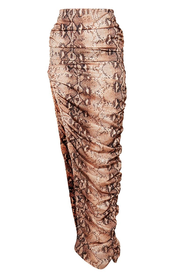 Nude Snake Print Woven Ruched Side Detail Split Leg Midaxi Skirt 5