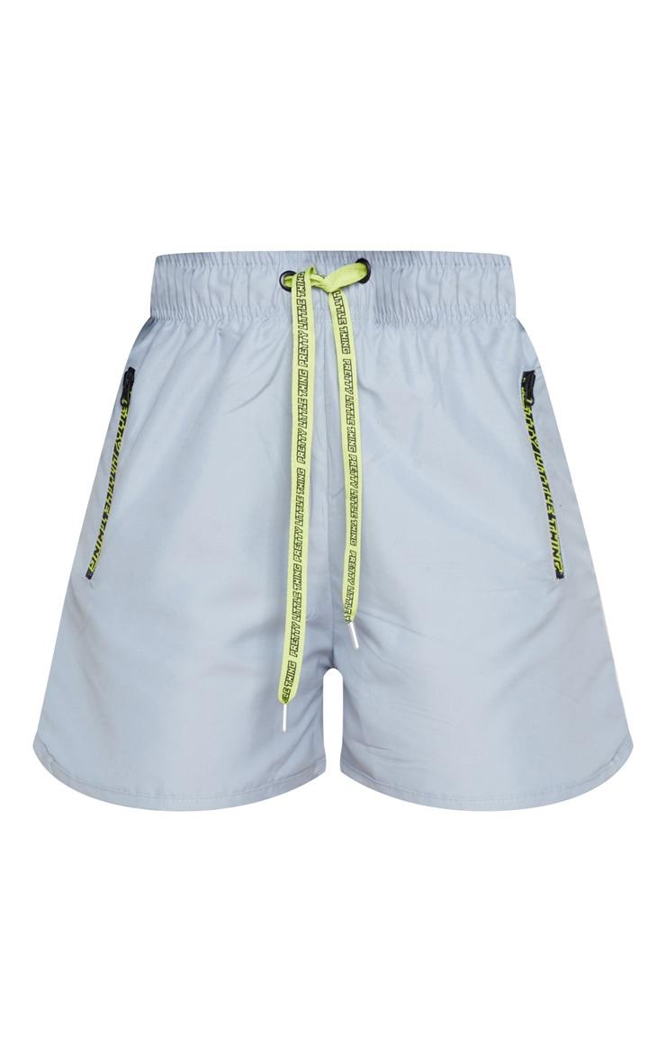 PRETTYLITTLETHING Grey Woven Contrast Drawstring Shorts 6
