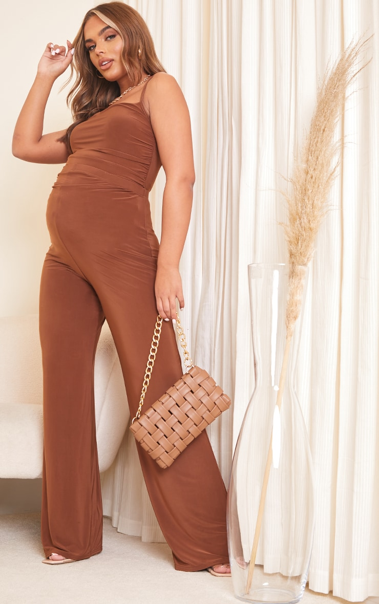 Maternity Brown Slinky Side Seam Ruched Cami 3