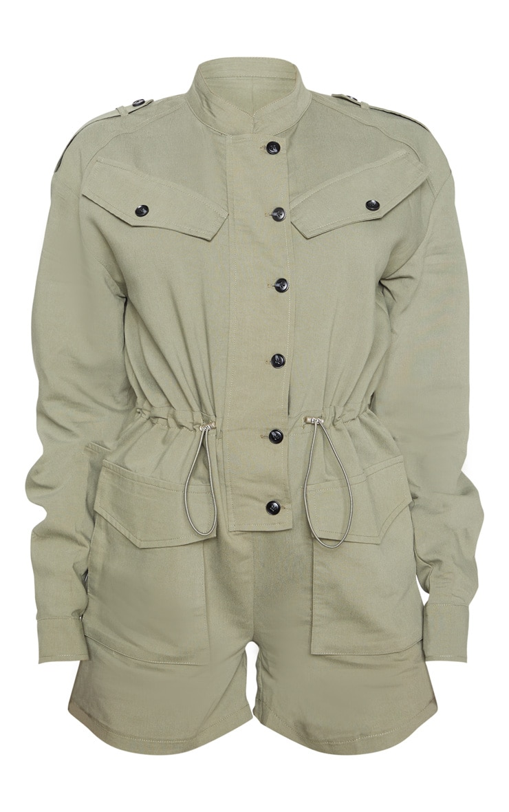 Khaki Pocket Detail Utility Style Playsuit 3