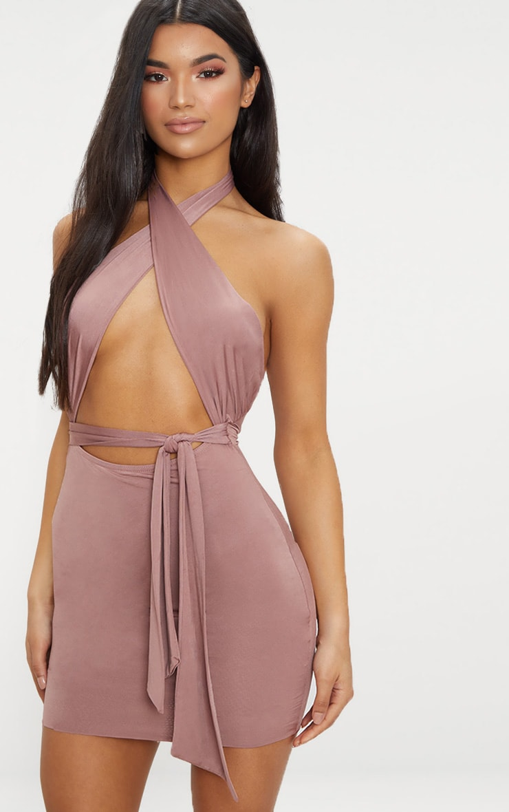 Dark Mauve Slinky Cross Over Neck Tie Detail Bodycon Dress