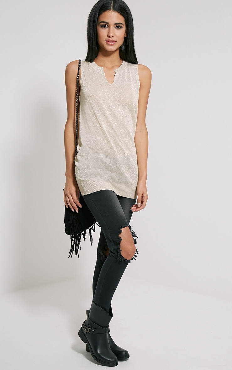 Ceara Taupe Sleeveless Metalic Knitted Vest 3