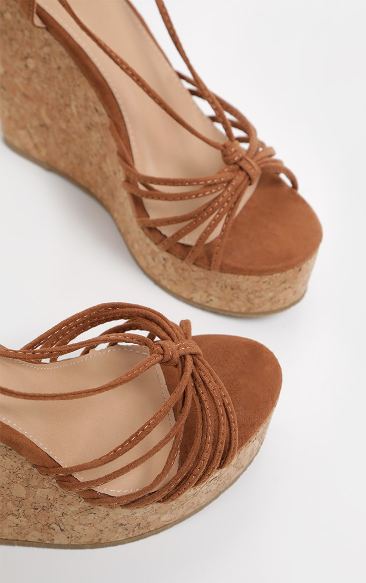 Tan Strappy Lace Up Cork Wedge 4