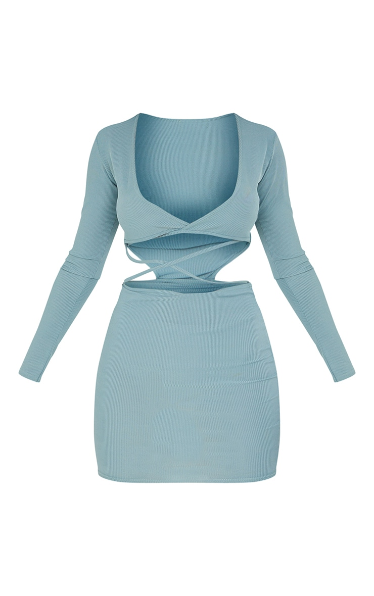 Mineral Blue Ribbed Cross Front Cut Out Bodycon Dress 5
