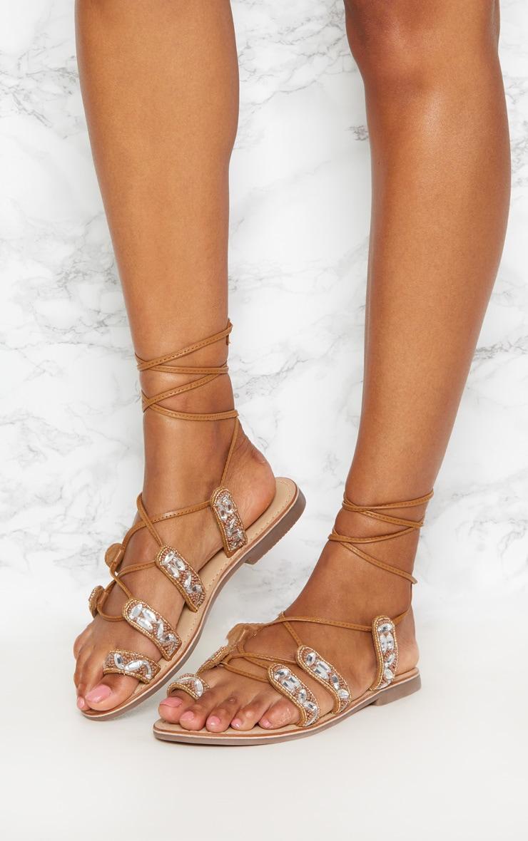 Tan Jewel Sandals 2