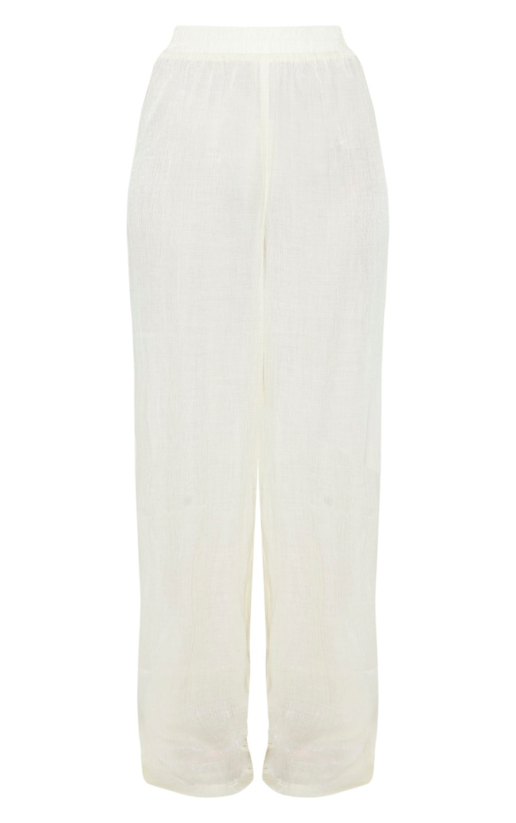 Cream Textured Wide Leg Pants 6