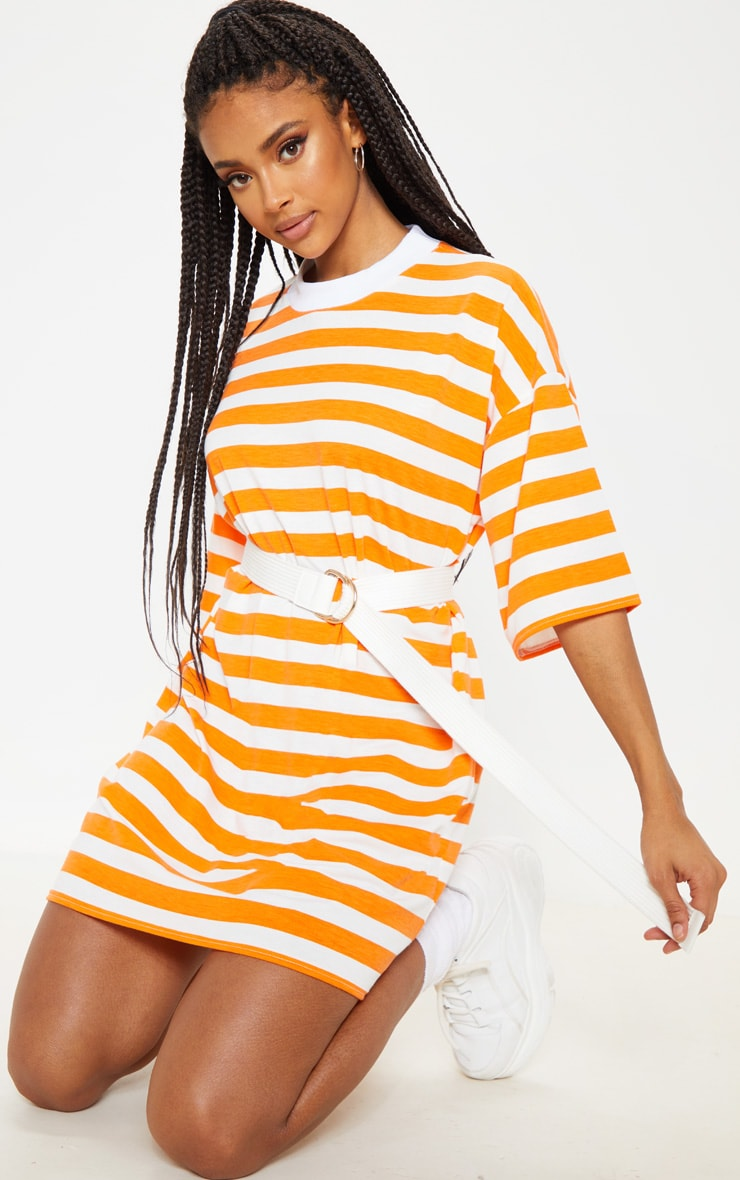 Orange Stripe Oversized Boyfriend T Shirt Dress 4