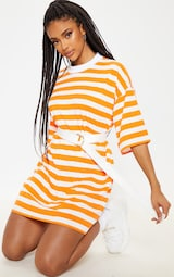 b04fc682724 Orange Stripe Oversized Boyfriend T Shirt Dress image 4