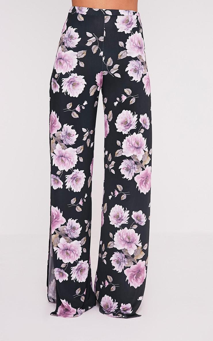 Darsee Black Floral Print Side Split Slinky Trousers 2