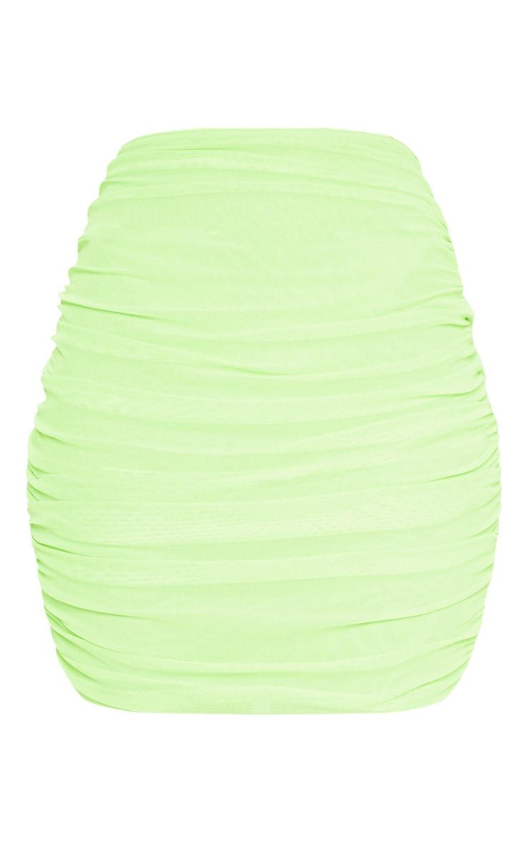 Neon Green Mesh Ruched Skirt 3