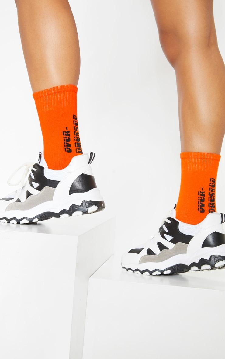 Orange Over Dressed Slogan Socks 1