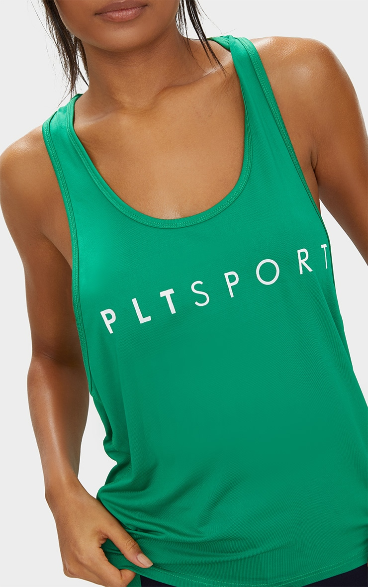 PRETTYLITTLETHING Sport Green Drop Arm Hole Racer Vest 5