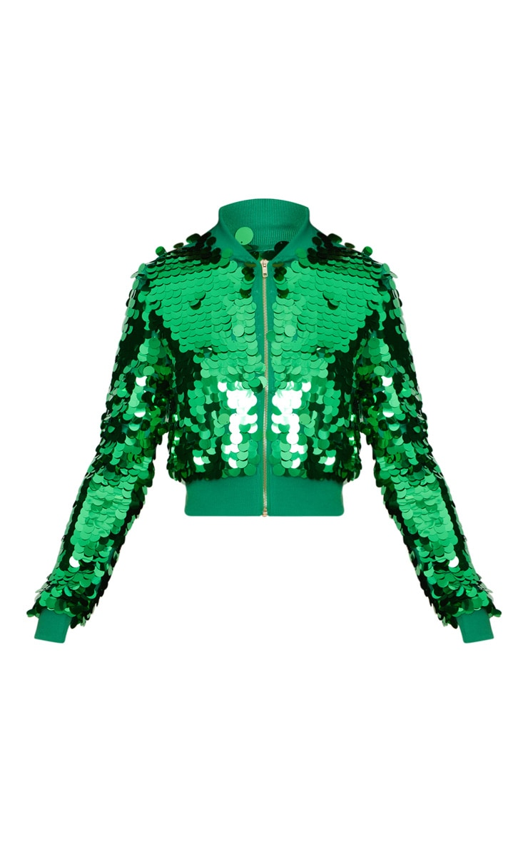 Green  Cropped Disc Sequin  Bomber Jacket 3