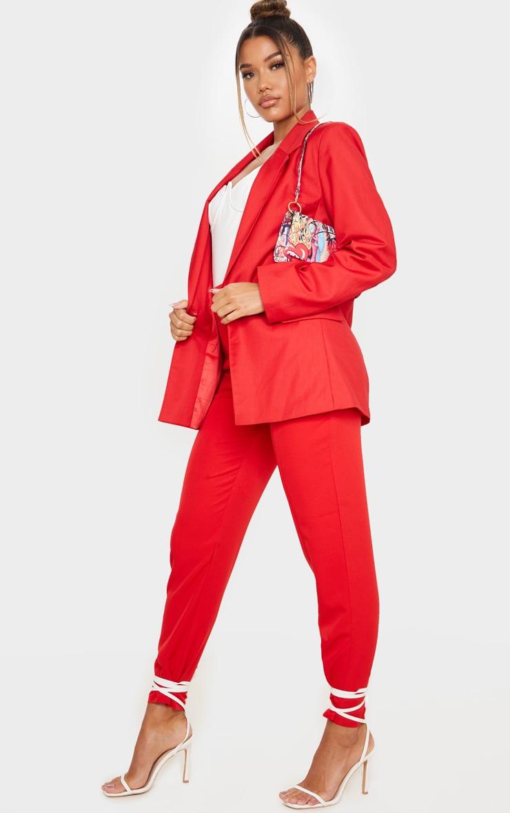 Red Longline Oversized Woven Blazer 1