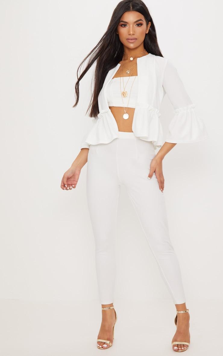 White Frill Sleeve Blazer 4