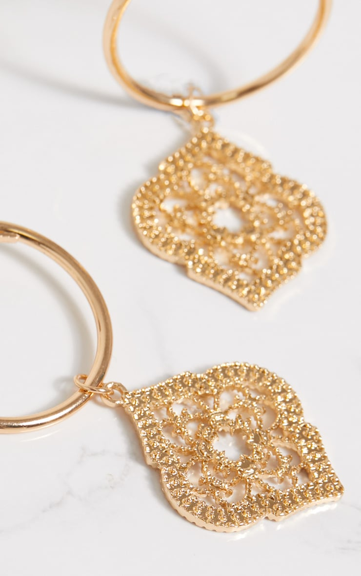 Gold Ornate Pendant Hoop Earrings 4