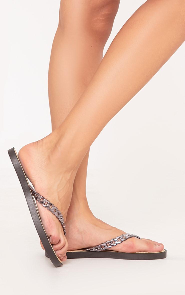 Anyia Black Chain Flip Flops 4