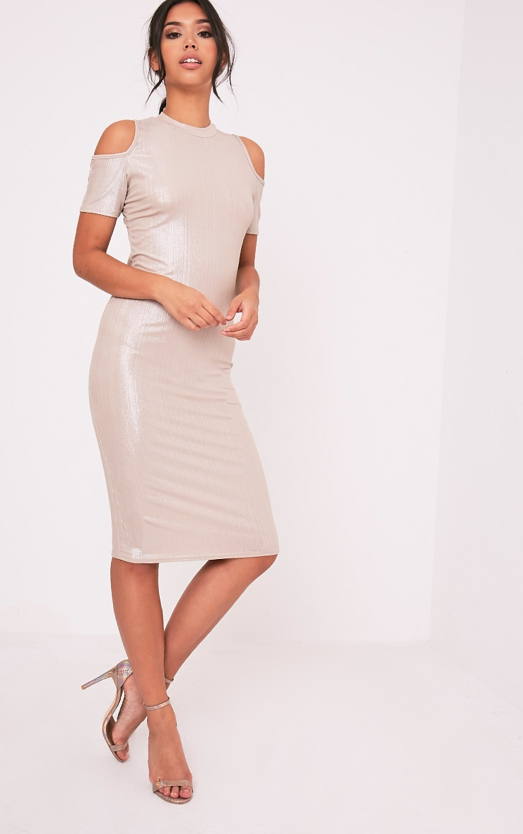 Avaery Champagne Metallic Cold Shoulder Midi Dress 1