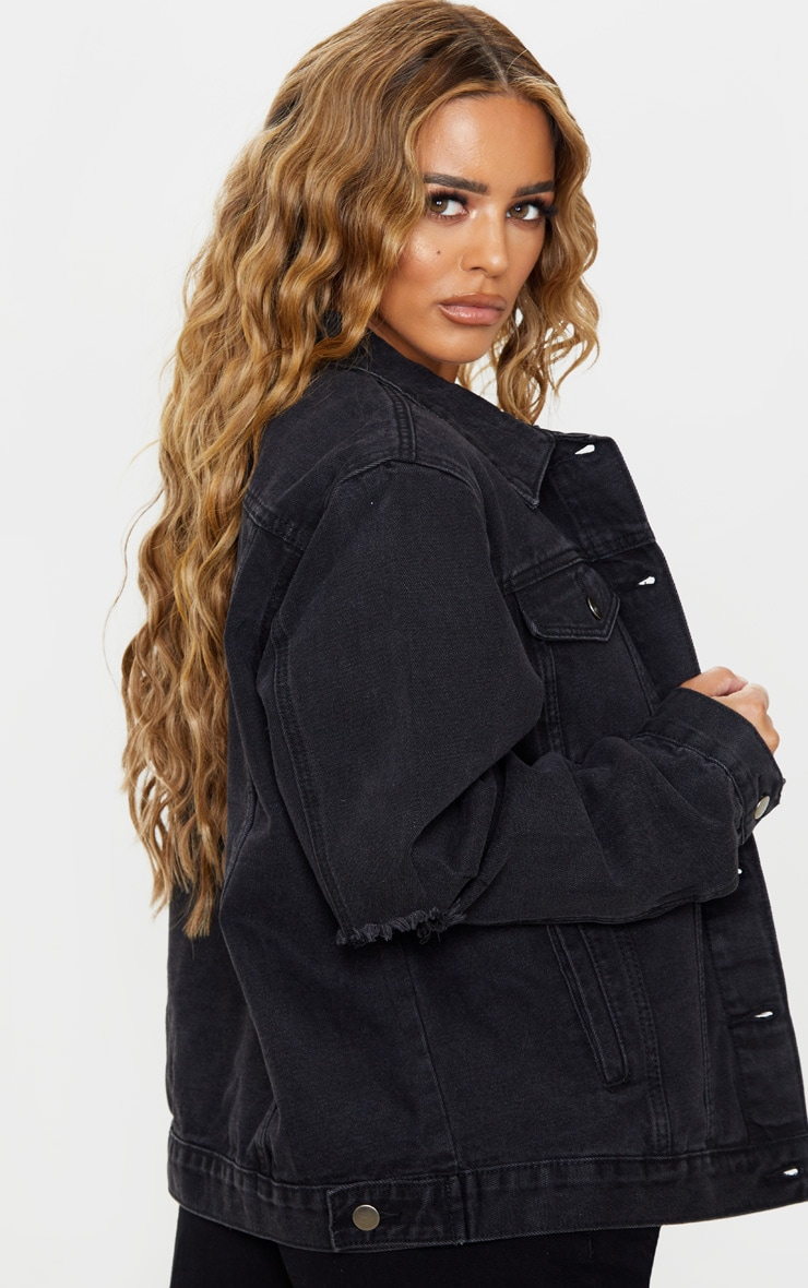 Petite Black Denim Ripped Elbow Jacket 2