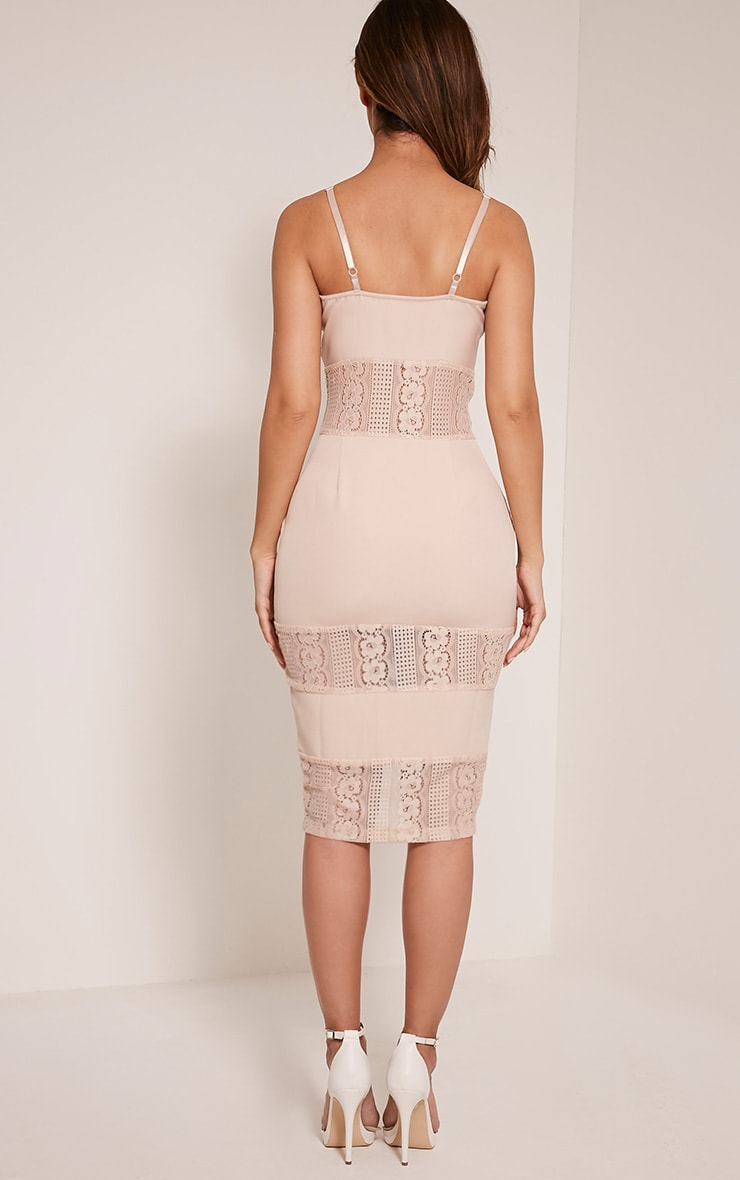 Nicky Nude Strappy Lace Panel Midi Dress 2