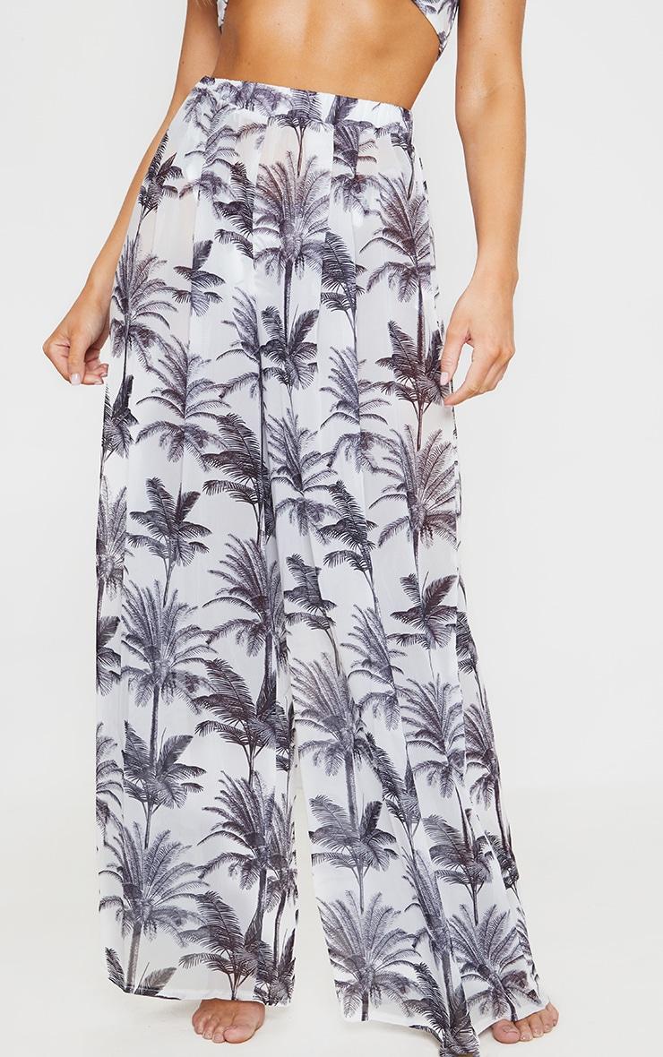 Monochrome Tropical Wide Leg Beach Pant 2