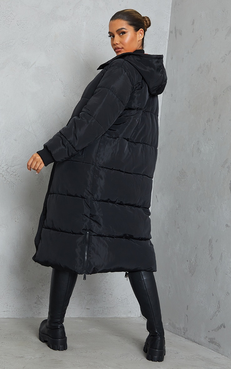 Black Maxi Contrast Hooded Puffer 2