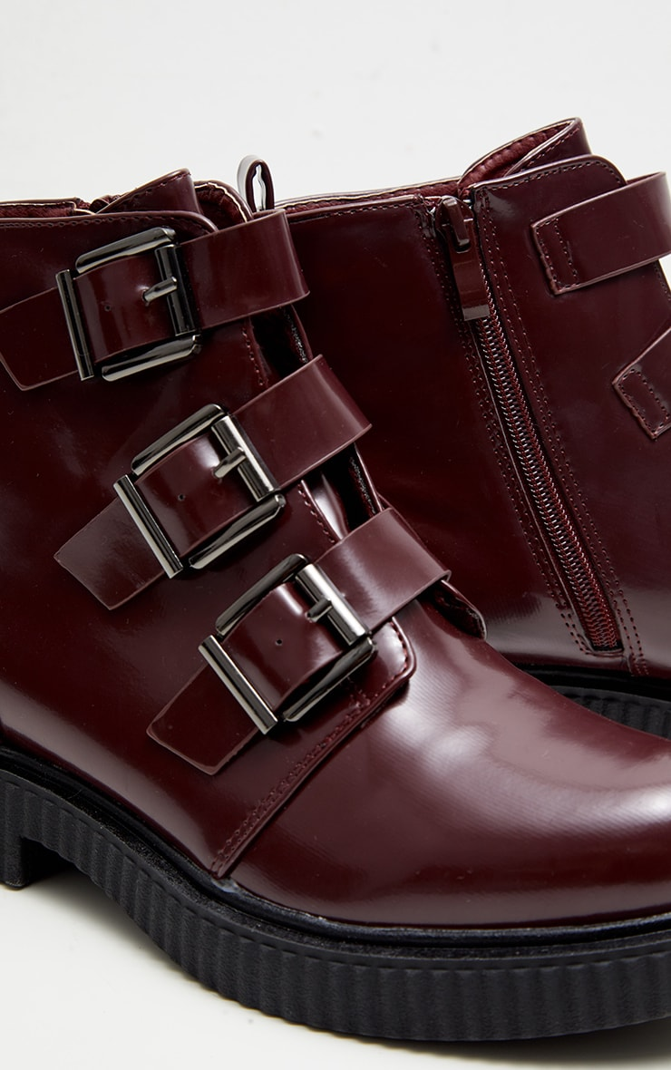 Burgundy Triple Buckle Biker Boot 4