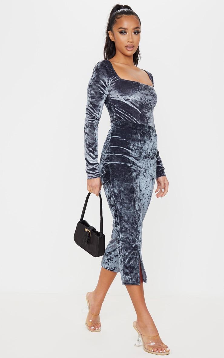 Petite Grey Square Neck Velvet Bodysuit 1