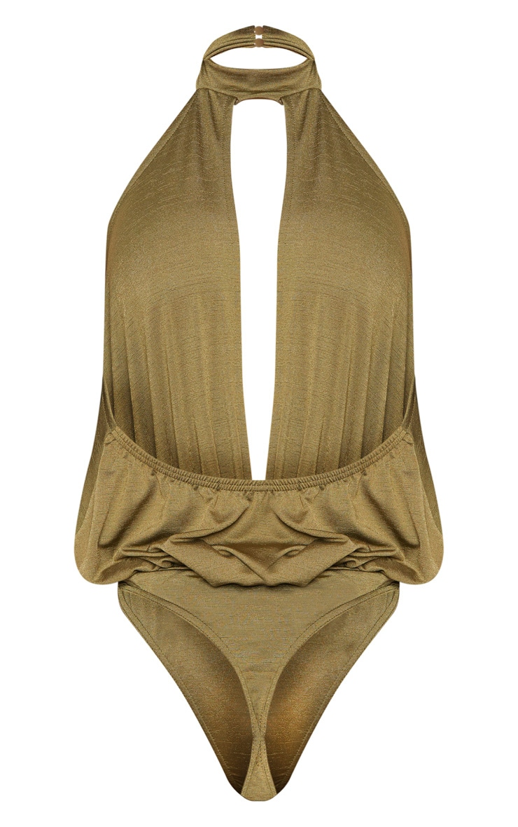 Shape Khaki Slinky High Neck Cut Out Bodysuit 4